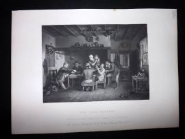After David Wilkie C1870 Antique Print. The Card Players